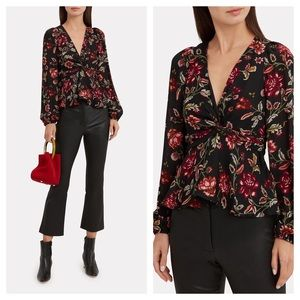 A.L.C. Logan Black Moody Floral Peplum Silk Top